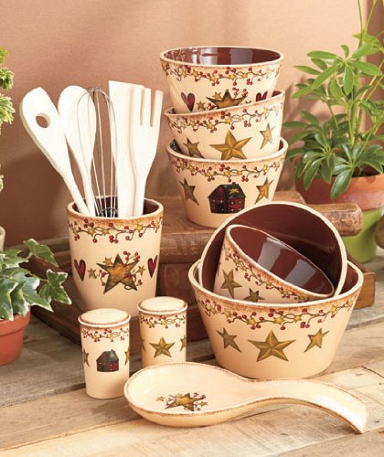 6-pc-crock-utensil-holder-hearts-stars-country-kitchen-decor-w-wooden-tools-by-knl-store