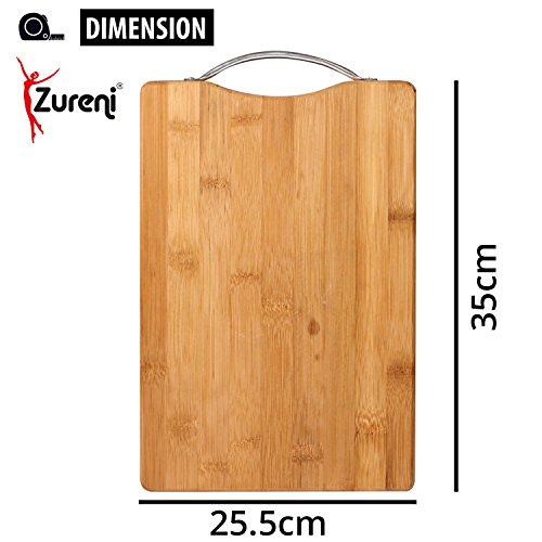 Zureni Bamboo Reversible Wooden Kitchen Cutting Board with Anti Microbial and Non Slip Surface for Cutting and Chopping Vegetables, Fruit, Cheese, Meat Serving Tray with Aluminium Handles - Large - 35 x 25.5 x 1.7 cms (Pack of 1)  available at amazon for Rs.275