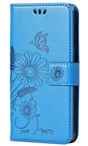 kazineer Huawei Honor 10 Hülle Leder Tasche Handyhülle für Huawei Honor 10 Schutzhülle Brieftasche Etui Case (Türkis-blau)
