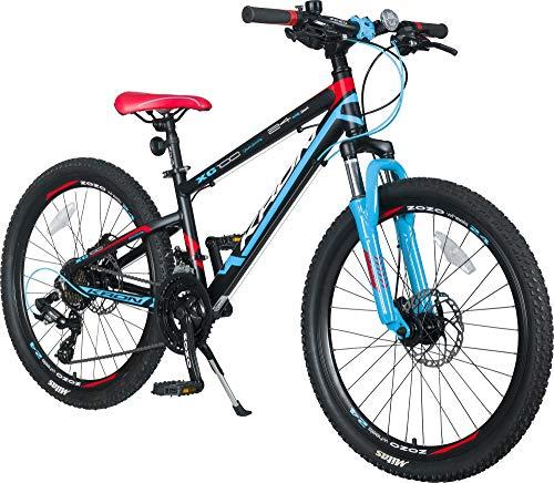 KRON XC-100 Hardtail Alu Jugendfahrrad Kinderfahrrad 24 Zoll ab 9-14 Jahre | 21 Gang Shimano Schaltung, Scheibenbremse, Federgabel, 13 Zoll Rahmen | Kinder Mountainbike Schwarz Blau Rot