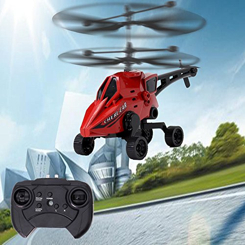 Colorful RC Drone Flying Cars Spielzeug Himmel und Land Amphibious 3.5CH Fernbedienung Hubschrauber (Rot)