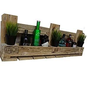 Palettenmöbel Weinregal mit Glashalter aus recycelten Palettenholz - Jedes Stück ein Unikat - perfekt als Hängeregal und Weinflaschenhalter - Vintage Style im Industrial Look
