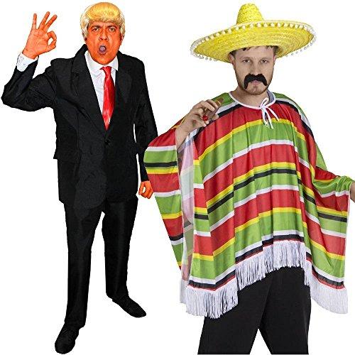 ILOVEFANCYDRESS Trump+Mexikaner Paar KOSTÜM VERKLEIDUNG=DIE PERFEKTE AMERIKANISCHE Party-Fasching+Karneval-XLarge