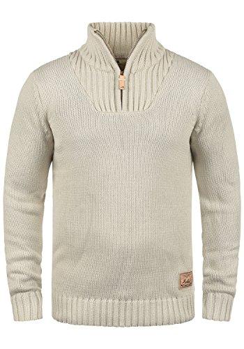 !Solid Petro Herren Winter Pullover Strickpullover Troyer Grobstrick mit Stehkragen und Reißverschluss, Größe:L, Farbe:Oyster Grey (8215)