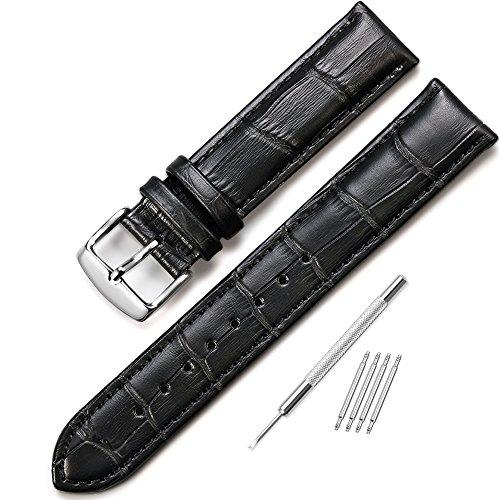 iStrap 22mm Echt Leder Uhrenarmbänder Uhrband Ersatz Watch Band für Uhren Shwarz (Watch Bands Ersatz Seiko)