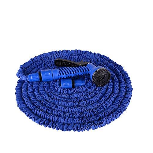 Aufun Gartenschlauch Flexibler 30m 100FT Dehnbarer Flexischlauch Flexi Wasserschlauch Flexibel Multisfunktionsbrause mit 7 Funktionen für Garten (Blau, 30m)