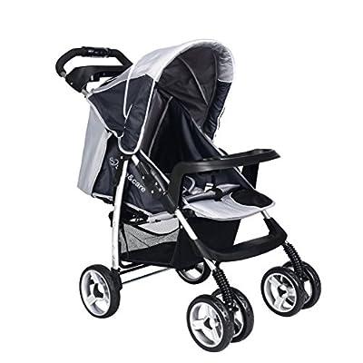 Cochecito de Bebé Seguro y Cuidado Cuatro Ruedas Plegable Ajustable Corredor de Viaje Sistema-Gris