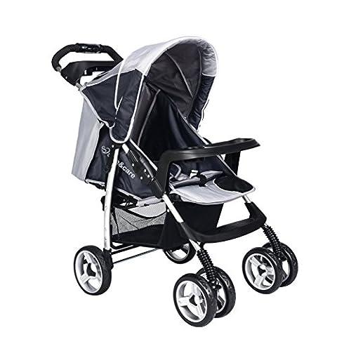 Buggy Kinderwagen Safe&Care Babyschale Vier Räder Faltbare Einstellbare Jogger Kombikinderwagen Urlaubskinderwagen (Grey)