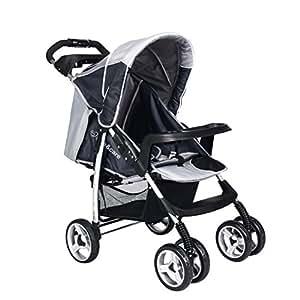 Carrozzina per Bambino Passeggino Safe&Care Quattro Ruote Pieghevole Passeggino da Viaggio Regolabile-Grigio