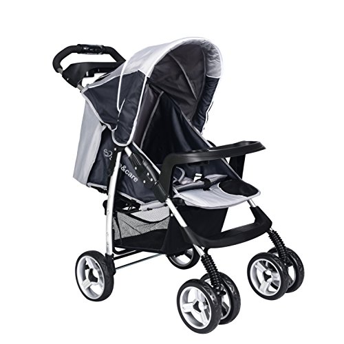 Baby Pram Pushchairs Buggy Stroller Safe&Care Four Wheel Foldable Adjustable Jogger Travel System-Grey and Dark Grey