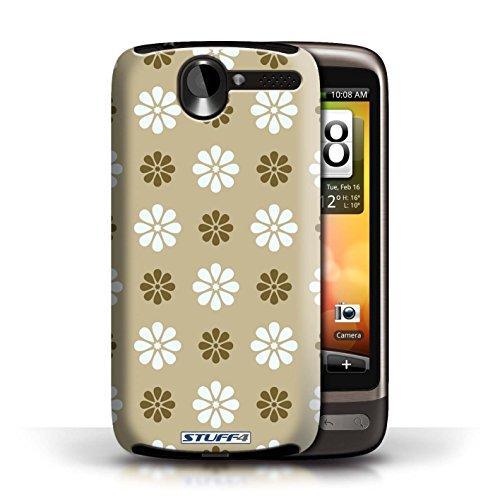 Kobalt® Imprimé Etui / Coque pour HTC Desire G7 / Bleue conception / Série Motif avec pétales Beige