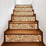 kwpkh Holz Muster Abziehbilder 3D Fliesen Treppen Aufkleber Wasserdicht Selbstklebende Entfernbare Wand Boden PVC DIY Wohnkultur 18 * 100 cm