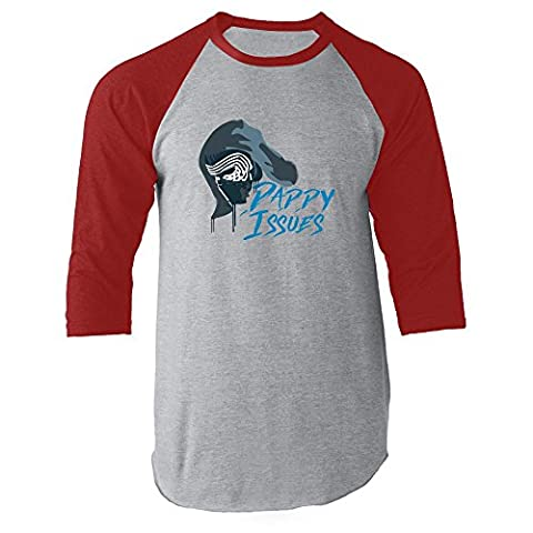 Daddy Issues Red M Raglan Jersey T-Shirt by Pop Threads