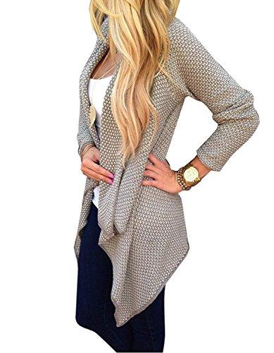 Minetom Femme 2015 élégant Casual Manches Longues Cardigan Pull Hem Irrégulière Blouson Kaki