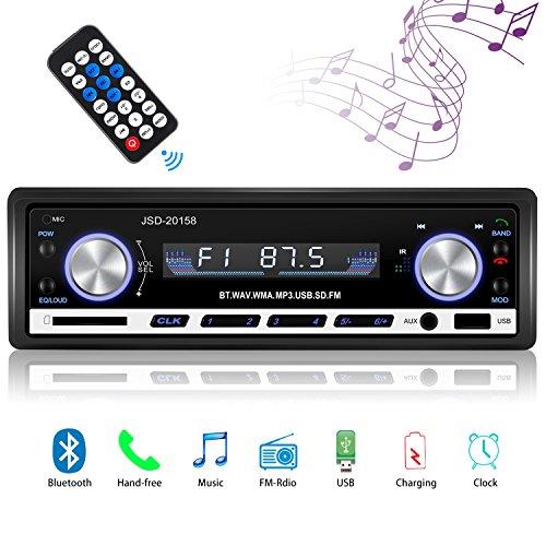 Radio de Voiture stéréo vidéo FM Radio,Besttrendy de 4x60W Poste Radio Voiture,Autoradio Bluetooth avec Télécommande + Adaptateur DIN ISO avec 2 Petits Câbles + 1 Grand Câble … (20158)