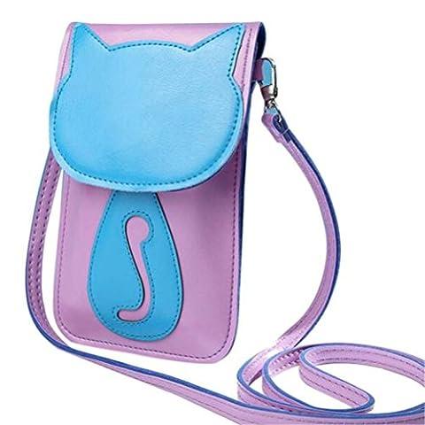 Bluester Cute Cartoon Purse Bag Leather Cross Body Shoulder Phone Coin Bag (Purple)