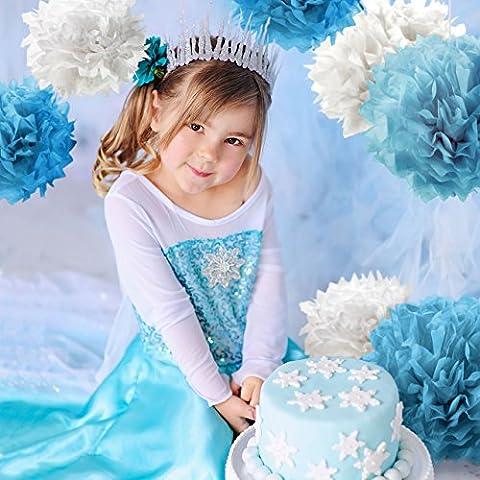 PUMPKO 10er Set Premium Seidenpapier PomPoms als Kindergeburtstag Deko   Pom Poms für Ihre Hochzeit   Papierblumen für eine besondere Party   Pompons in Weiß, Hellblau und Blau
