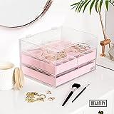 Beautify Boîte à Bijoux Présentoir Acrylique avec 3 Tiroirs et Séparateurs en Velours