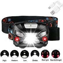 Lampada Frontale led Ricaricabile USB, 400 LM Torcia da Testa con 3 Modalità di Illuminazione(Incluso Interruttore Induttivo),2 Rosso Luci a led di Allarme,Orario di Lavoro: 10-15 ore,60°Angolo Regolabile