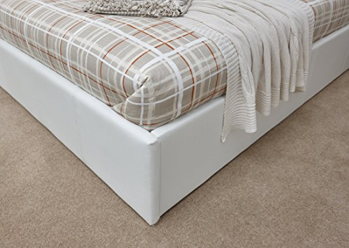 Right Deals UK Caspian Ottoman Gas Lift Up Storage Bed - White 4ft6 Double