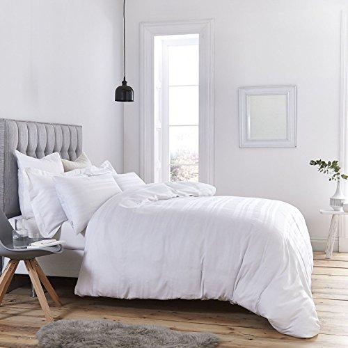 Bianca Waffel Stripe Bettwäsche-Set, Einzelbett, weiß, baumwolle, weiß, King Size (Super Pack Bettwäsche-set)