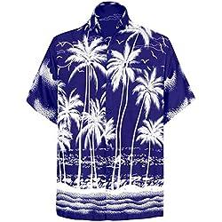 LA LEELA | Funky Camisa Hawaiana | Señores | XS-7XL | Manga Corta | Bolsillo Delantero | impresión De Hawaii | Playa Playa Fiestas, Verano y Vacaciones Azul_W457 3XL