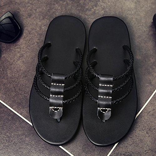 BEEST-Sommer Sandalen aus Leder, Leder Sandalen, fischgrat Flip Flops, für Männer drei Bars Muster Black