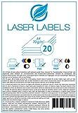 20 Blatt, A4, bedruckbare Klebefolie, weiß, glänzend/geeignet für Produktetiketten, Hinweisschilder./für Laserdrucker und Kopierer