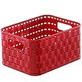 Rotho 1166702255 Cesta Country Effetto Rattan in plastica (PP), Contenitore di Design, Formato A6, capienza Circa 2 l, ca. 18,3 x 13,7 x 9,8 cm, Rosso