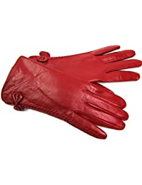 Ladies Womens New Super Soft Premium Luxary Genuine Leather Gloves Fully Lined Winter Warm Everyday Driving (Medium, Red)