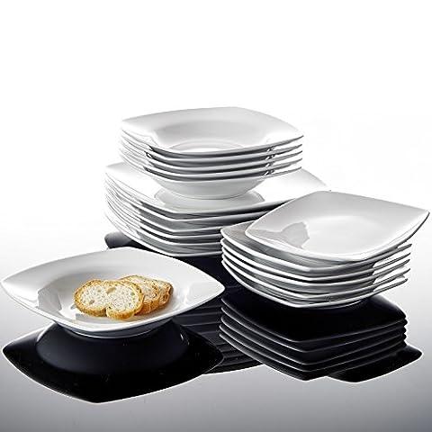 """Malacasa Série JULIA 18pcs Assiettes Creuse Assiette à Dessert Soupe Assiette Plate Service Vaisselles de Table Porcelaine Céramique 6pcs*9.5""""+6pcs*8""""+6pcs*6.5"""""""