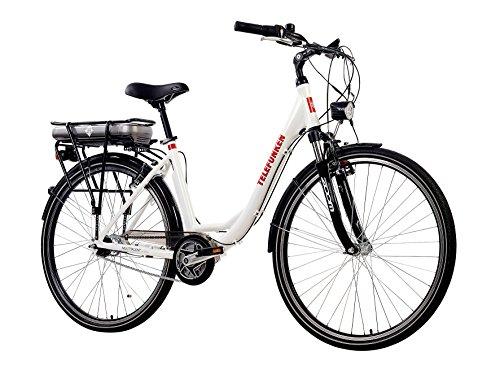 e bike mit mittelmotor und ruecktrittbremse Telefunken E-Bike Damen Elektrofahrrad Alu, weiß, 7 Gang Shimano Nabenschaltung - Pedelec Citybike leicht, Mittelmotor 250W und 10Ah/36V Lithium-Ionen-Akku, Reifengröße: 28 Zoll, Multitalent C750