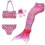 DAXIANG 3 Pièces Maillot de Bain Princesse Queue de Sirène Mermaid Bikini(Il y a la boucle au bas de la queue,pouvez ouvrir pour marcher ou fermer pour ajouter monopalme) (140(8-9 Ans), Rose)