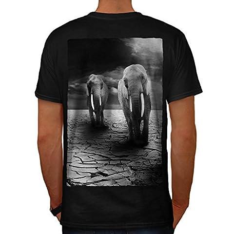 Éléphant désert Animal Triste mammifères Homme XL T-shirt le dos | Wellcoda