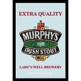 Empireposter - Beer - Murphys Irish Stout - Größe (cm), ca. 20x30 - Bedruckter Spiegel Bedruckter Wandspiegel mit schwarzem Kunststoffrahmen in Holzoptik