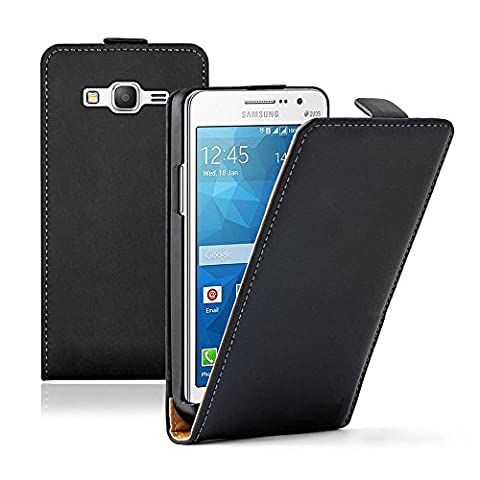 VCOMP® Housse Coque Etui Cuir PU Vrai pour Samsung Galaxy Grand Prime SM-G530F/ (4G) Value Edition SM-G531F - NOIR