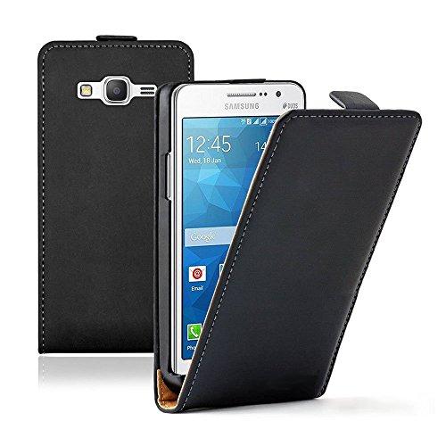 Custodia Protettiva Cover cuoio PU Vero per Samsung Galaxy Grand Prime SM-G530F 4G) Valore Edizione SM-G531F - Nero