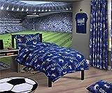 Fußball Nummern Geometrisch Blaue Baumwolle Mischung King Size ( Uni Marineblau Passendes Leintuch - 152 X 200cm + 25) 5 Teile Schlafzimmer Set