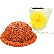 YOPINDO Baby Straw Sun Hat Beach Cap con bolso Dress Up Hat Set de bolso 8 9c83f32ef01