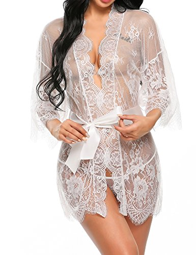 Avidlove Dreiteilig Nachtwäsche Negligee Kleid Gown Kurz Babydoll Erotik Lingerie mit G-String Gürtel Nachthemd Transparente Dessous Damen Sexy Robe Long Sleeve Sheer Mesh Lace-Trim XL Weiß