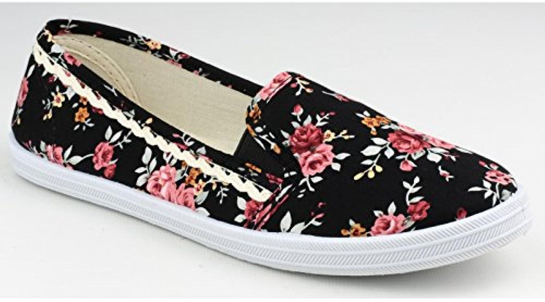 Divaz Ladies Swift Floral Patterned Textile Boat Shoe Royal