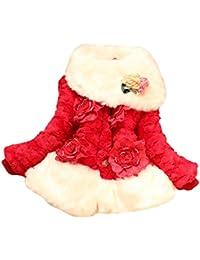 Tangda-Enfants Tout Petit Filles Fausse Fourrure Hiver Chaud Veste Manteaux Fausse Fur Fleece Fleur 2-8ans
