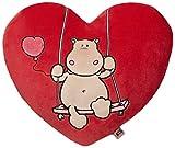 Nici 37588 - Herzkissen Love Nilpferd, Plüsch, 40 cm, creme