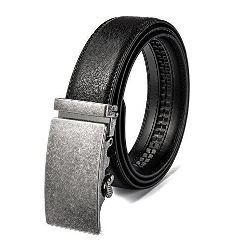 AITEE Cinturón de Cuero Genuino para Hombres, con trinquete Ajustable, 100% Cuero de Vaca, Hebilla prismática automática, Plateado,Cintura 36-39