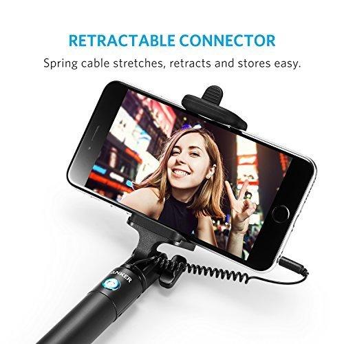 Anker Selfie Stick, Verstellbare Selfie-Stange, ohne Akku, mit Kabel, für iPhone 6s/6/5, Galaxy, Nexus und viele mehr, in Schwarz - 5