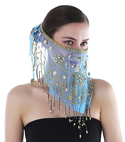 Seawhisper Damen Bauchtanz Gesichtsschleier Schal Schleier Perlen Pailletten Netz Eisblau (Bauchtanz-kostüme-accessoires)