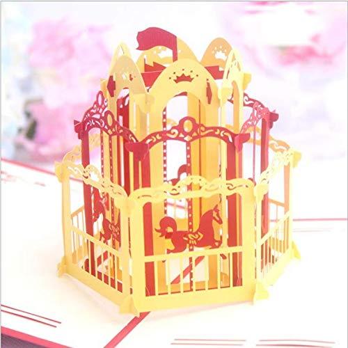 Lavillede 3D Stereo Grußkarte hohl Custom Christmas Letter Kleine Karte Karussell Geburtstag Grußkarte *1 Gelb