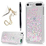 YOKIRIN iPod Touch 5 Case Transparent Clear PC Hard Plastic Shell Bling Sparkle Glitter Quicksand and Little Heart Flowing Liquid Cover for iPod Touch
