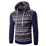 Aoogo Herren Kapuzenpullover Kapuzenjacke National Style Print Hoodie Kapuzenpulli mit hoch abschließendem Kragen Kapuzen Sweatshirt