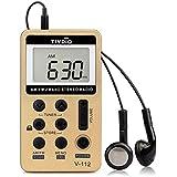 Tivdio VT-112 Mini Radio de Bolsillo AM / FM 2 Bandas Receptor con Batería Recargable y Auricular